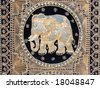 Vintage colorful carpet with elephant useful for background  (Flea Market, Tel-Aviv). - stock photo
