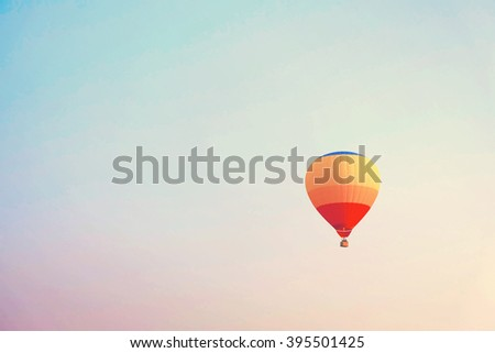 Vintage colorful hot air balloons in the sky. - stock photo