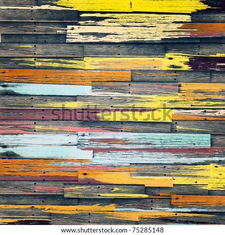 Vintage colorful wooden wall background - stock photo