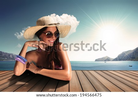 vintage colour girl with sunglasses and straw hat - stock photo