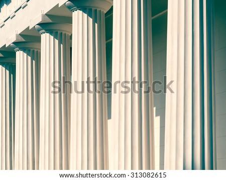 Vintage Columns Architecture Of Ancient Greek Temple - stock photo