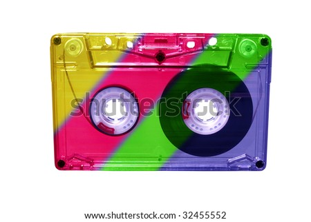 Vintage Compact audio Cassette isolated on white. clipping path included - stock photo