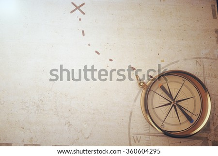 Vintage compass and map background - stock photo