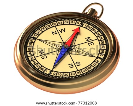 Vintage compass in the metal casing isolated on a white background. - stock photo