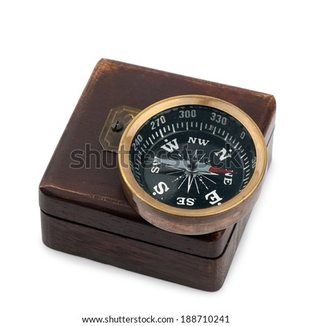 vintage compass on box isolated on white background
