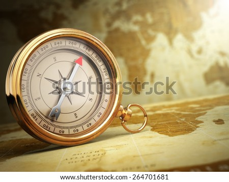 Vintage compass on the old world map. Travel concept. 3d - stock photo