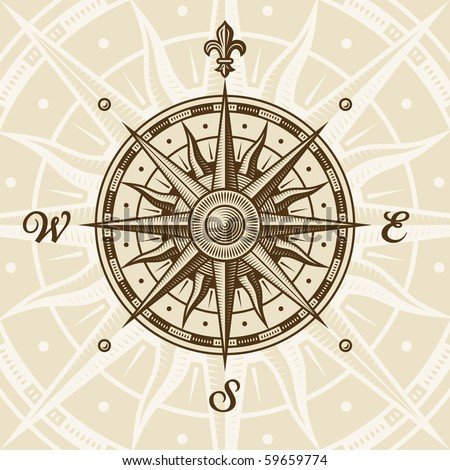 Vintage compass rose - stock photo