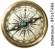 Vintage compass studio isotaion on white background. - stock photo
