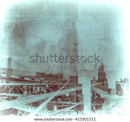 Vintage composite image of New York City. Blue - stock photo