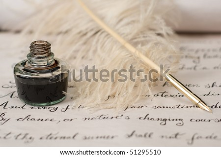 Vintage composition of handwriting, feather pen and ink. Selective focus on ink and pen. Text is from Shakespeare's Sonnet 18. - stock photo