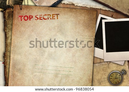 Vintage composition, top secret folder for papers - stock photo