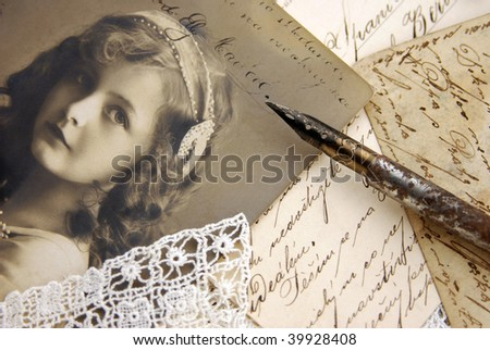 Vintage composition with photo of lovely girl - stock photo