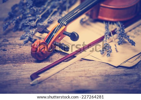 Vintage composition with violin and lavender - stock photo