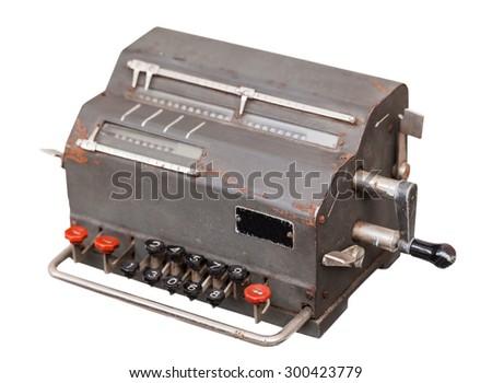 vintage computing machine isolated on a white background - stock photo
