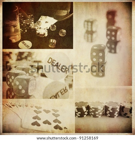 vintage conceptual poker collage from few image; background for bar prints or wallpaper - stock photo