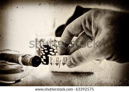 vintage conceptual poker hand image - stock photo