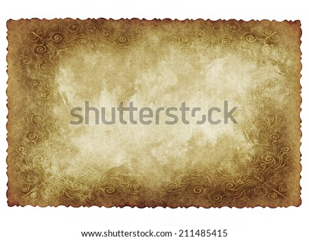 Vintage conceptual retro paper with vintage victorian style isolated on white background.A bstract damaged parchment or label,as a banner for grunge,ornament,book, pattern or history designs  - stock photo