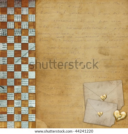 Vintage congratulation to holiday with hearts and envelopes - stock photo