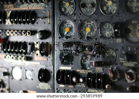 Vintage control panel of a soviet aircraft