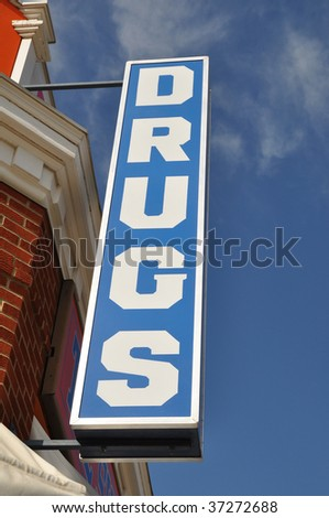 Vintage convenience drugs store sign - stock photo
