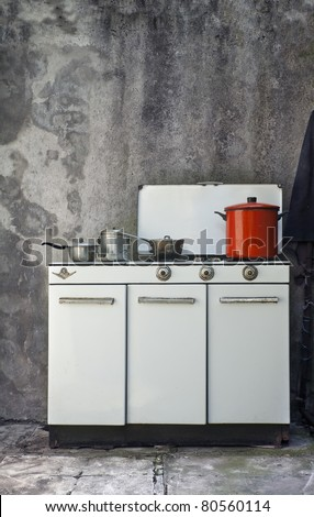 vintage cooker with old pots