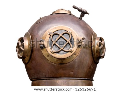Vintage copper diver head on white background or isolated. this has clipping path - stock photo