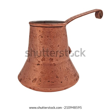 vintage copper stained patina jezve over white, clipping path