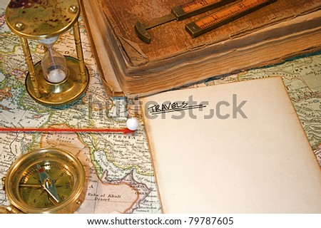 Vintage (1907 copyright - EXPIRED) map with destination string and push pin - stock photo
