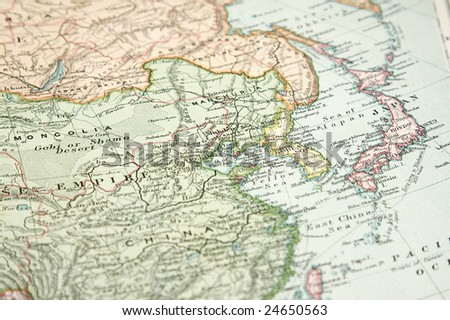 Vintage (1907 copyrighted expired) map of Europe and Asia - stock photo