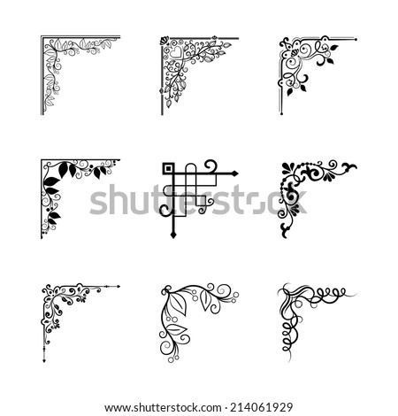 vintage corners elements for frames for page decoration - stock photo