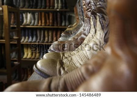 Vintage cowboy boots in Houston texas - stock photo