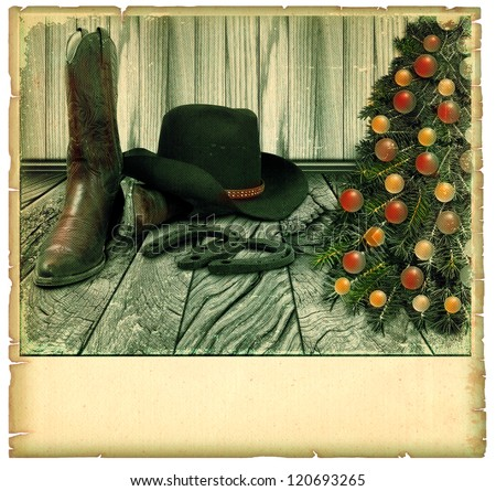 Vintage Cowboy christmas card.American background on old paper for text - stock photo