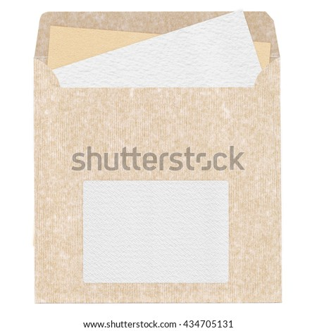 Vintage Craft Envelope with Sticking out Paper | Old textured blank mailing sleeve with clear watercolor sheet for design and scrapbooking - stock photo