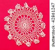 Vintage crocheted doily - stock photo