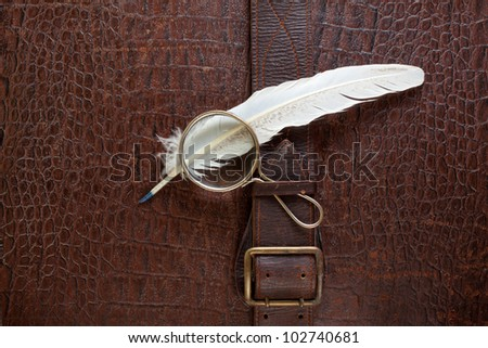 Vintage crocodile leather textured background with magnifying glass and quill - stock photo