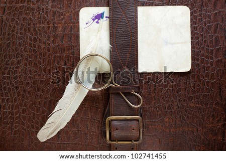 Vintage crocodile leather textured background with magnifying glass, quill and paper blank - stock photo
