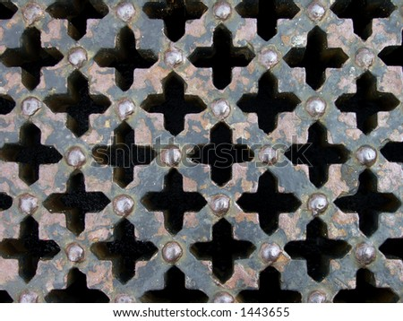 Vintage cross pattern wrought-iron lattice