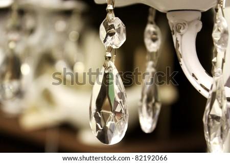 Vintage crystal lamp details - stock photo
