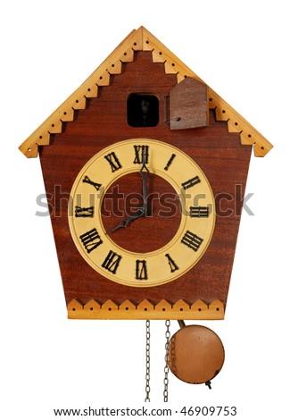 Vintage Cuckoo Clock isolated on white - stock photo