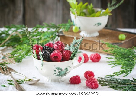 Vintage cup of raspberries and blackberries served with thuja branches and old book on the table. - stock photo