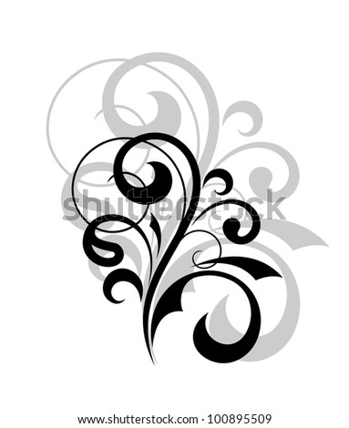 Vintage curve floral embellishment for design. Vector version also available in gallery