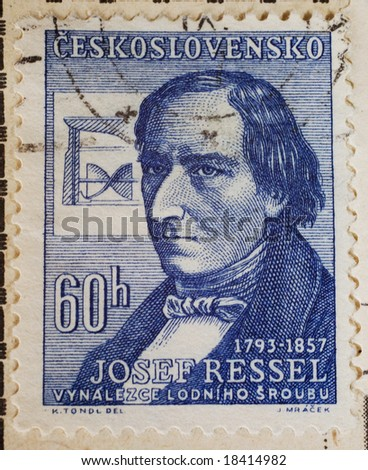 Vintage Czechoslovakian postage stamp with inventor of the ship propeller, Josef Ressel