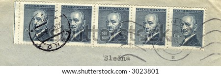 vintage czechoslovakian stamps - stock photo