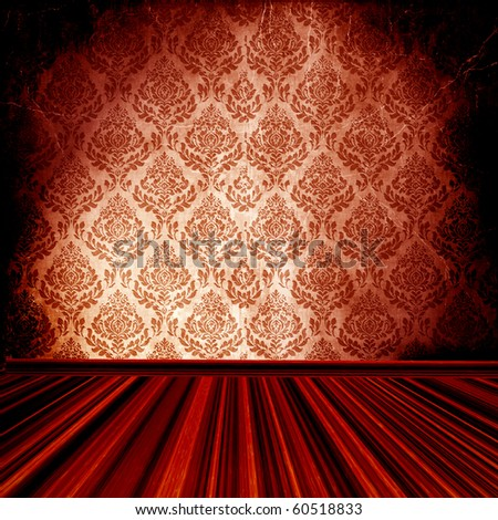Vintage Damask Room - stock photo