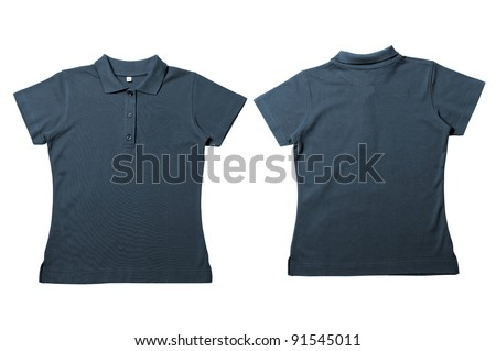 Vintage  Dark Blue Female color Polo Shirt with white background Men Front and back Polo Shirt - stock photo