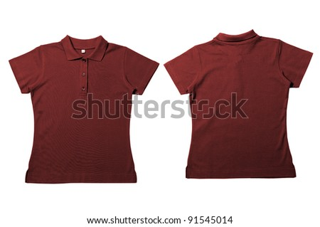 Vintage  Dark Brown Female color Polo Shirt with white background Men Front and back Polo Shirt - stock photo
