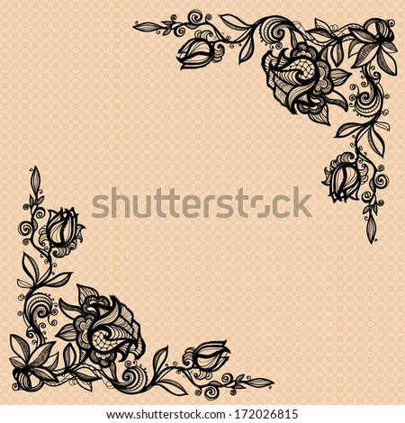 vintage decorative ornament from colors of a rose with leaves for decorating, design, decoration, your design. To decorate the angular compositions. - stock photo