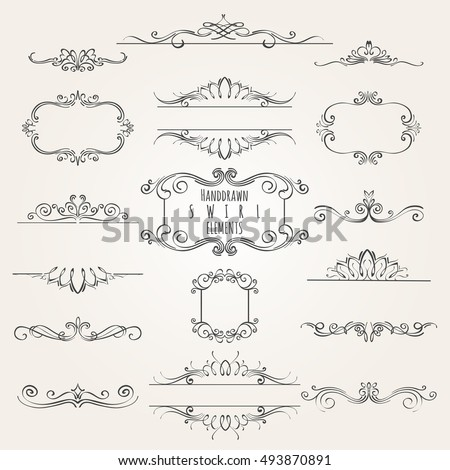 Vintage Decorative Swirl Borders Frames Dividers Stock Illustration ...