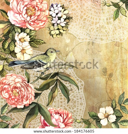 Vintage decorative watercolor background with bird and flowers. Hand painting. Illustration for greeting cards, invitations, and other printing projects. - stock photo