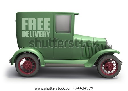 Vintage delivery truck, isolated on white background - stock photo